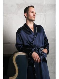 Шелковый мужской халат Luxe Dream Синий