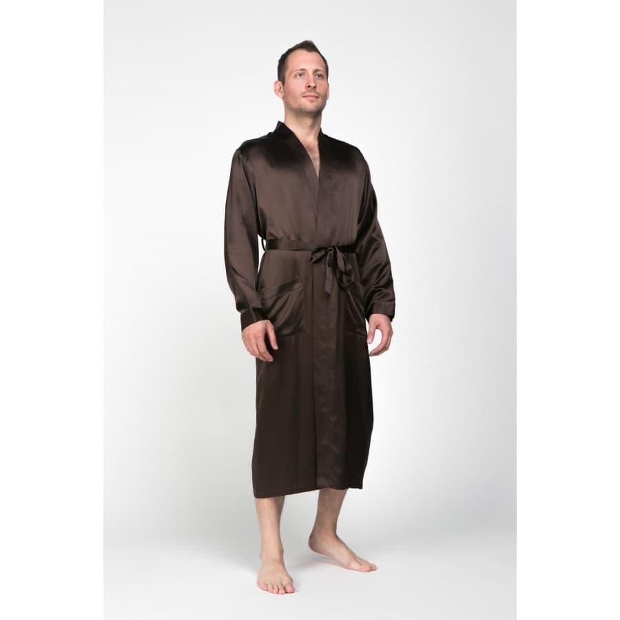 Шелковый мужской халат Luxe Dream Шоколад