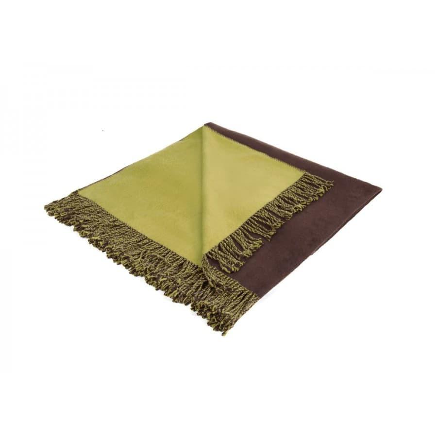 Плед шелковый фисташково - коричневый
