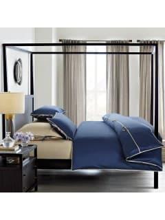 Однотонное постельное белье Luca синий с бежевым