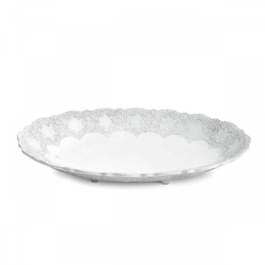 Блюдо глубокое керамика Merletto White 47х30 см