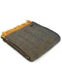 Плед Tweedmill LIFESTYLE HERRINGBONE NAVY/MUSTARD 150х183